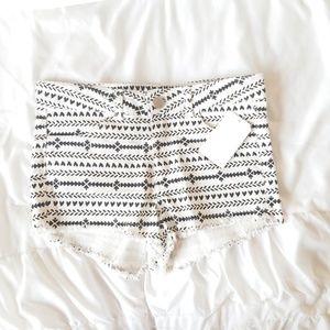 White and black shorts